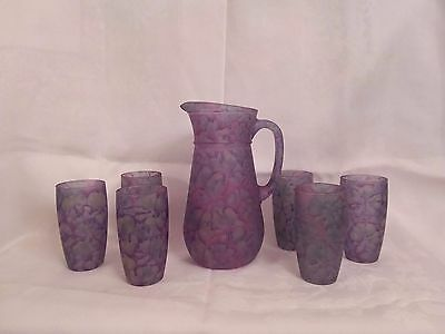 Vintage Nuveau Art Glass Co Rueven Hand Crafted Pitcher (6) Juice glasses