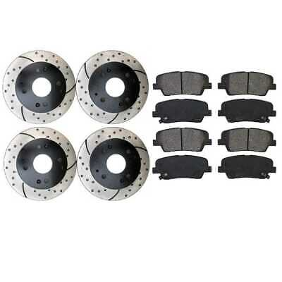 Front Rear (4) Drilled Slotted Rotors (8) Metallic Pad For 2006-2011 Honda Civic