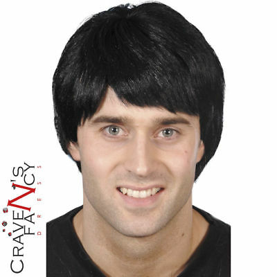 Mens Black Short Hair Boy Band Wig 60s 70s 80s 90s Guy Fancy Dress Accessory New