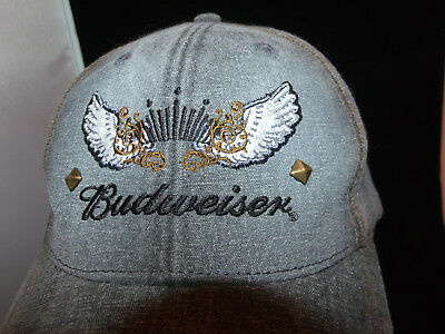 Budweiser Anheuser Bush Official Product One Size Studded Trucker Hat Denim New