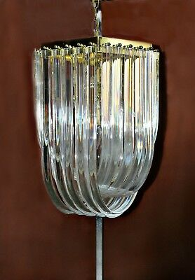 Vintage Lucite Ribbon Chandelier Hollywood Regency 1970s Lighting Mid Century