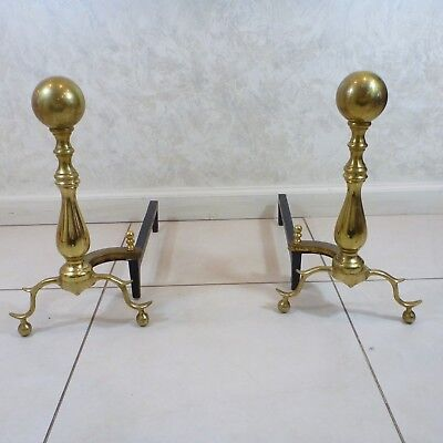 Vintage Set Brass Metal Andirons Ball Top Patina Fireplace Inserts Log Holders