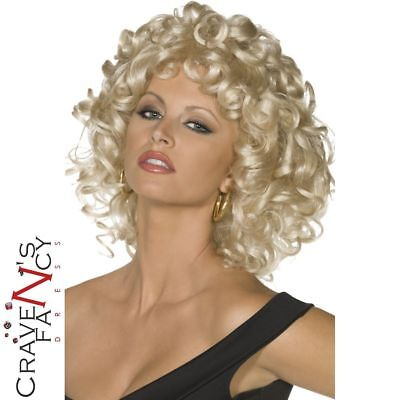 OFFICIAL Grease Sandy Wig Last Scene Blonde Curly Fancy Dress Costume Accessory