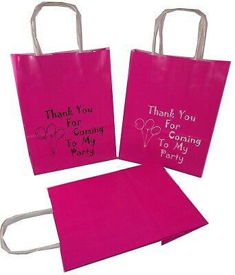 ThankYou For Coming To My Party Printed or Clean,Paper Gift Bags,Pink 18x8x21cm