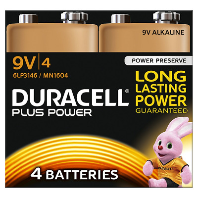 Duracell Plus Power Piles Alcalines type 9V, Lot de 4