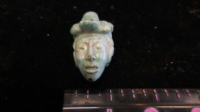 PRE-COLUMBIAN Carved JADE EFFIGY HEAD PENDANT/BEAD--DARK  GREEN