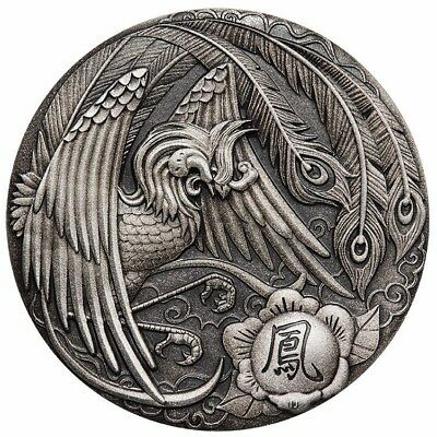 Tuvalu 2018 Phoenix Ancient Chinese Mythical Creatures $2 2 Oz Silver Antiqued