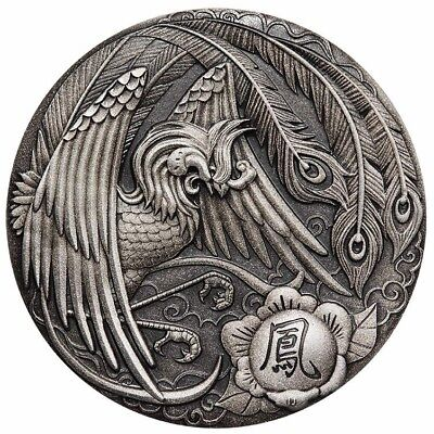 Tuvalu 2018 Phoenix Chinese Mythical Creatures $2 2 Oz Silver Antiqued Antique