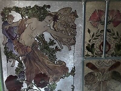 Rare Vintage NUDE Risqué Leaded STAINED SLAG GLASS Lady Women hand painted 15'