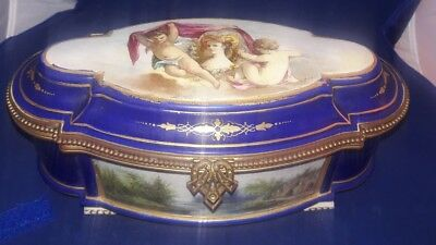 19C Sevres Choicy Porcelain Dresser Box Gilt & Hand Painted playing Cherubs