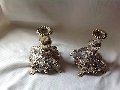 "2 Vintage Victorian  Ornate Footed Metal Scroll Candle Holder 6.25""  tall  Pair"