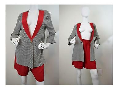 Vtg 90s High Waist Shorts Set Blazer Top Jumpsuit Playsuit Gauze Suit Size S P