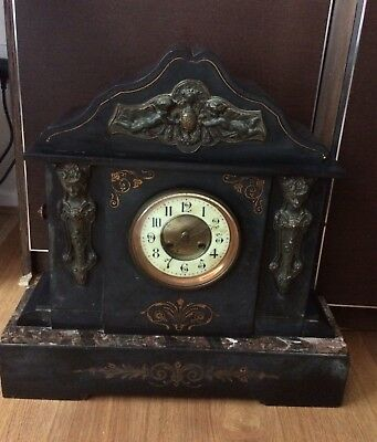 Large Antique Victorian Slate and marble mantel clock for restoration