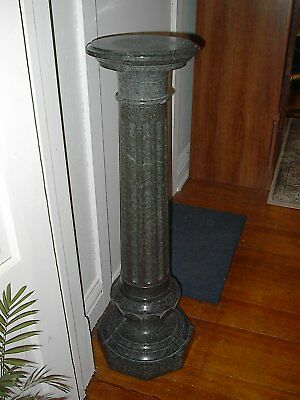 "Antique Victorian Green Granite Column Pedestal 43"" Revolving Top Italianate"