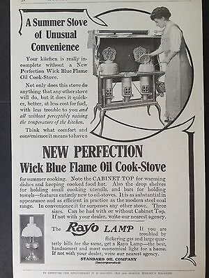 Antique 1909 Ad (E13)~New Perfection Wick Blue Flame Oil Cook Stove