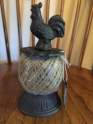 Vintage Style Cast Iron Twine String Holder w/ Rooster~French Country Kitchen