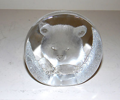 Lead Crystal  Mats Jonasson Signature Collection Baby Bear Sculpture Paperweight