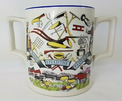 """Vintage """"God Speed The Plough"""" Burleigh Ironstone Twin Handled Cider Cup"""