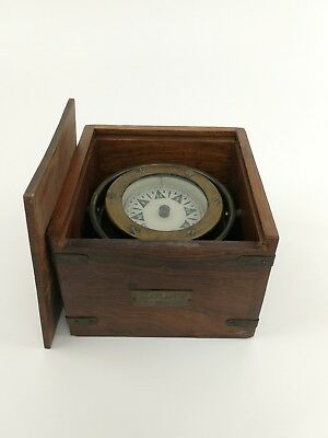 Antique 1905 Ship's Compass S.S. Atlantic Brass Working w/ Label Box Gyro