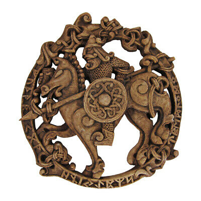 Odin on Sleipnir Wall Plaque - Norse God Asatru Rune Statue - Dryad Design