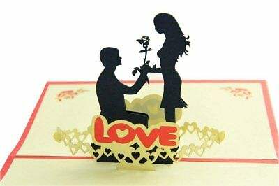 Valentines day Gifts Handmade 3D Pop Up Greeting Cards for Lovers Say LOVE