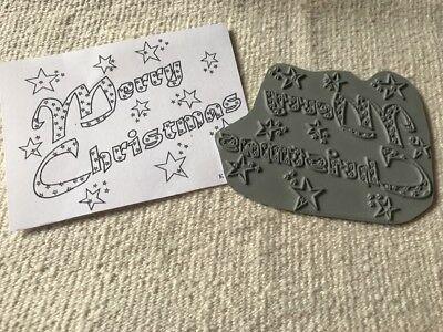 Merry Christmas unmounted rubber stamp: words stars