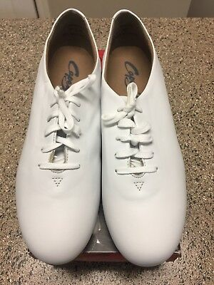 Capezio Clogging Shoe in White Size 9.5W Leather, fits Large to Sz 11,11.5