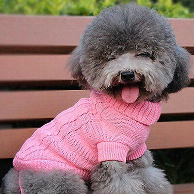 EG_ Pet Puppy Dog Cat Lovely Winter Warm Cable Knit Sweater Jumper Pet Clothes G