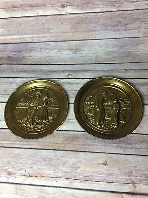 Vintage Lombard Brass Wall Plaques/Plates Small Holland/Dutch