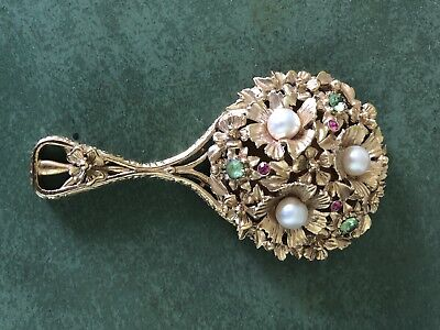 Antique Ornate Metal Hand Mirror - Faux Pearls - Red/Pink/Green Gems