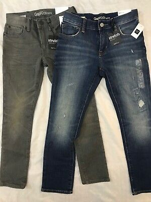 Bnwt Boys Gap 2 Pack Denim Jeans Blue And Grey Adjustable Waist Age 7-8 Years