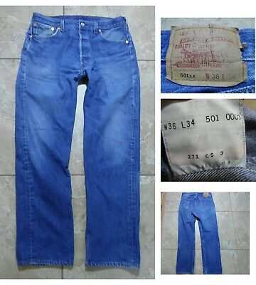 VTG LEVIS 501XX BUTTON-FLY JEANS RedTab Med Blue Denim Made in USA Sz 36 X 34