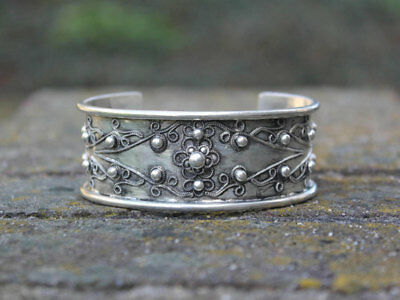 Authentic Ethnic Miao silver bangle Handmade gypsy boho jewellery Gift for her