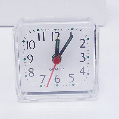 EG_ Bed Travel Mini Compact Square Quartz Beep Table Silent Alarm Clock Clear Gr