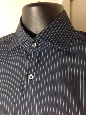 366b95bc5 ... hugo boss sharp fit on down dress shirt black navy blue stripe ...