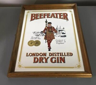 Vintage Beefeater London Distilled Dry Gin Framed Advertising Mirror Bar Sign