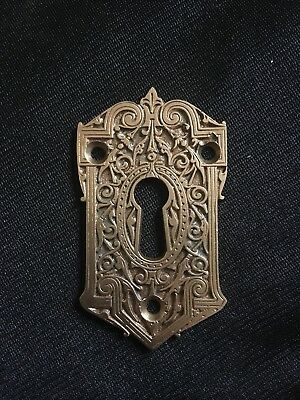 ANTIQUE Very Ornate Cast Brass KEYHOLE ESCUTCHEON Highly Stylized