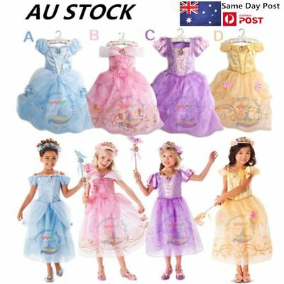 Kids Girls Belle & Cinderella Costume Princess Party Fancy Dress Cosplay Outfit
