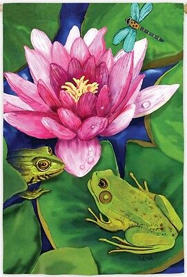 New Large Evergreen Flag Frogs On Lily Pad With Dragonfly  29 X 43 Beautiful!