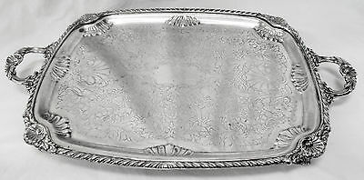 "HEAVY/HUGE 28"" Vtg FB ROGERS 1883 Slv Plate Ornate Footed Platter Tray w/Handles"