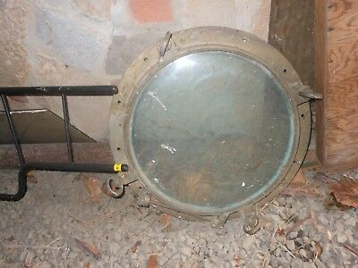 "18"" Solid Brass Porthole Off Old Tugboat"