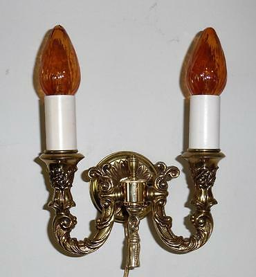 Vintage 1950's 1970's Ornate Italian Brass Wall Sconce Vtg Brass Wall Lighting