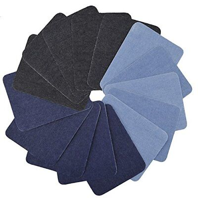 15 Pcs Iron On Denim Cotton Patches Repairing Decorating Kit for Jeans 3 Color
