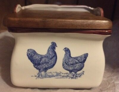 SALT BOX or Recipe BLUE and WHITE Chickens Rooster Porcelain HINGED Wood Lid