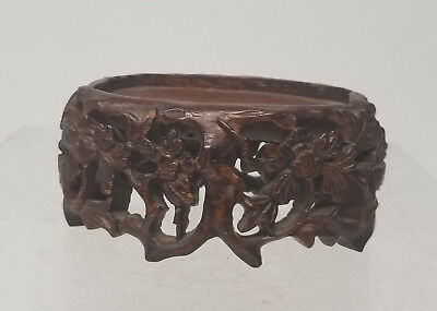 Antique Chinese Carved Hardwood Mahogany Rosewood Base Stand