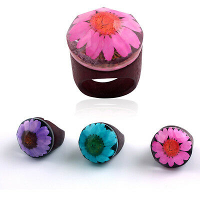 New Fashion Women Unique Wooden Resin Rings Round Floral Wood Ring Jewelry Gifts