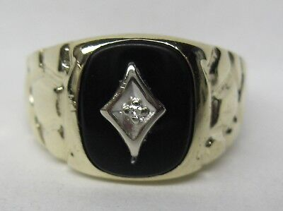 Mens 10K Solid Gold Nugget Onyx & Diamond Ring Sizing Available