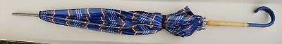 Vintage Umbrella Mid Century USA Handle Celluloid Blue Plaid Antique Wood Metal