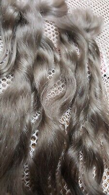 Premium Angora Mohair .75 Oz Gorgeous Ash Gray Dyed and Combed Silky Shiny 8""