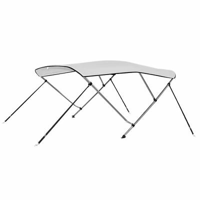 """Bimini Top 3 Bow Boat Cover Polyester Canopy Shade 55"""" Height 71"""" Width White"""